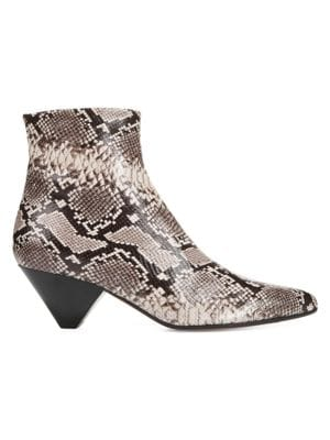 Vince Alder Snake Embossed Leather Ankle Boots