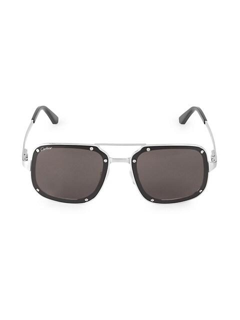 58MM Square Titanium Sunglasses