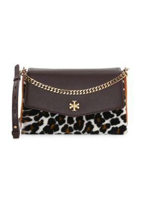 Kira Leopard Print Shearling Leather Shoulder Bag
