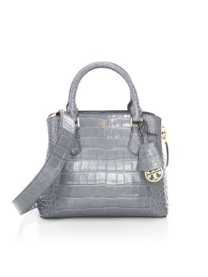Tory Burch Robinson Croc Embossed Leather Satchel