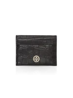Tory Burch Cases Robinson Croc-Embossed Leather Card Case