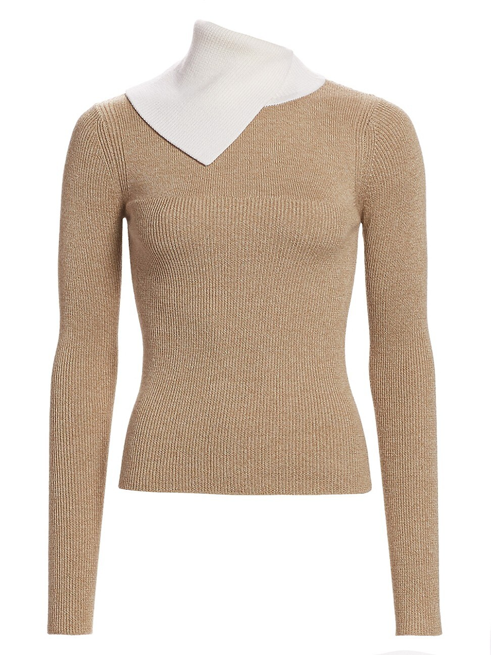 See By Chloé Women's Bicolor Rib-knit Merino Wool Sweater In Beige White