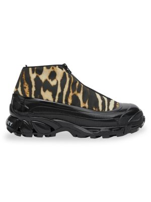 Burberry Suedes Leopard-Print High-Top Sneakers