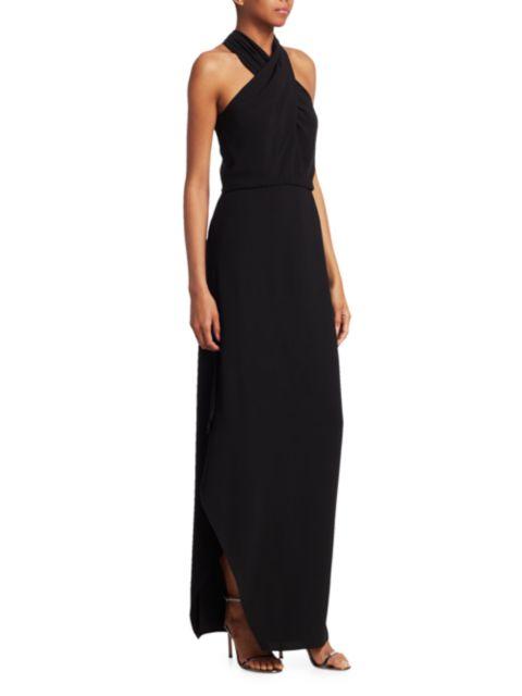 Halston Crepe Halterneck Gown | SaksFifthAvenue