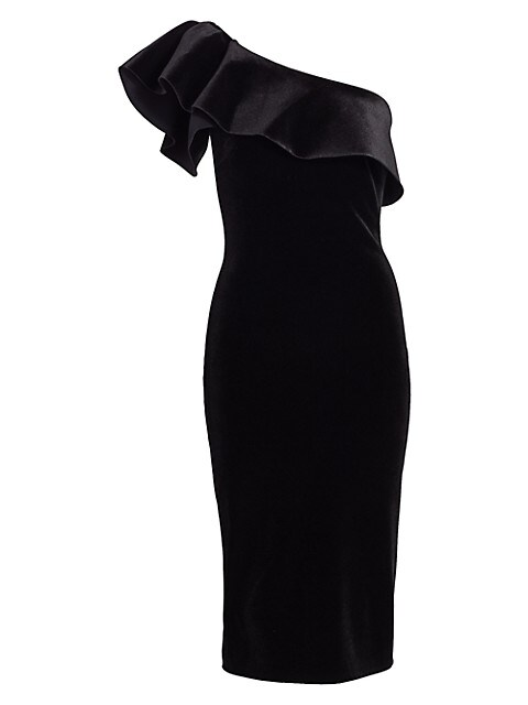 Chiara Boni La Petite Robe Elisse Ruffled One Shoulder Velvet Dress Saksfifthavenue