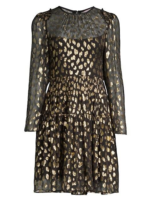 Metallic Leopard-Print Long-Sleeve Dress