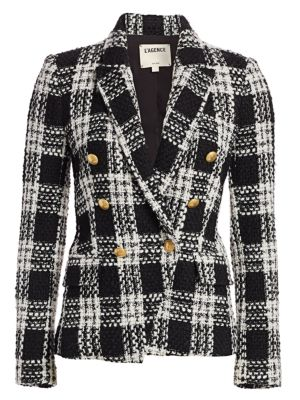 L'agence  Kenzie Double Breasted Tweed Blazer
