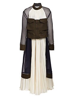 3bffe048df06 QUICK VIEW. Sacai. Pleated Bustier Maxi Dress