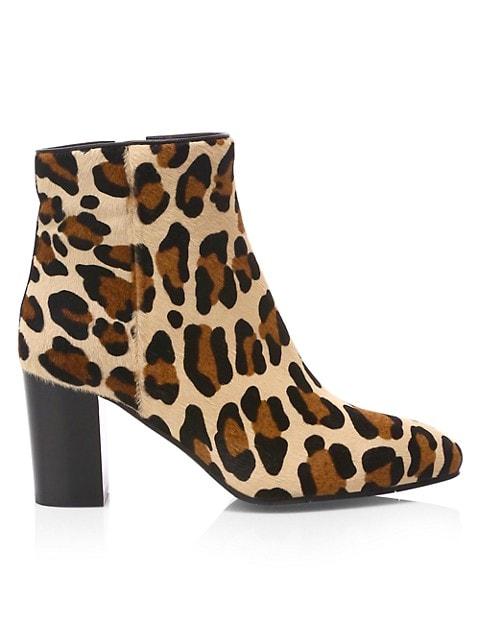 Florita Leopard-Print Calf Hair Ankle Boots