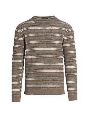 Ermenegildo Zegna Men's Wool-blend Striped Sweater In Light Brown