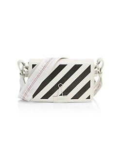 fb2ab8292 Mini Diagonal Stripe Binder Clip Leather Crossbody Bag WHITE. QUICK VIEW.  Product image
