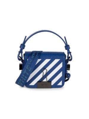 Off White Baby Diagonal Stripe Binder Clip Leather Crossbody Bag