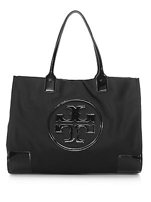 Ella Patent Leather Trimmed Tote by Tory Burch