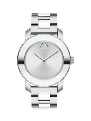 Movado Bold Stainless Steel Bracelet Watch In Silver