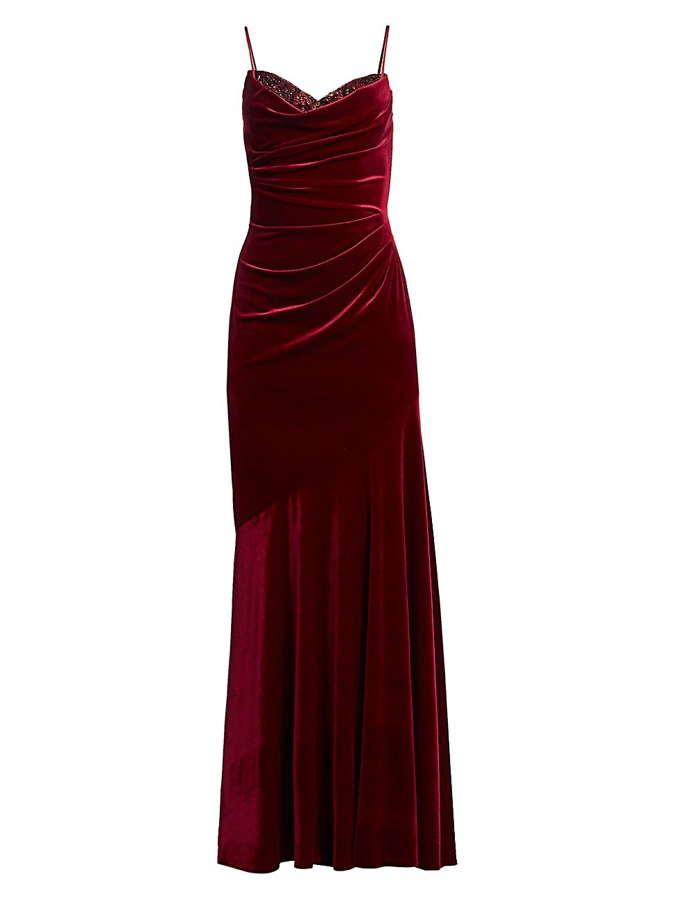 Theia Women's Ruched Velvet Gown In Garnet