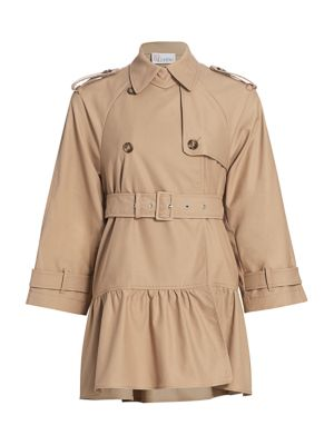Red Valentino Coats Flounce Hem Trench Coat