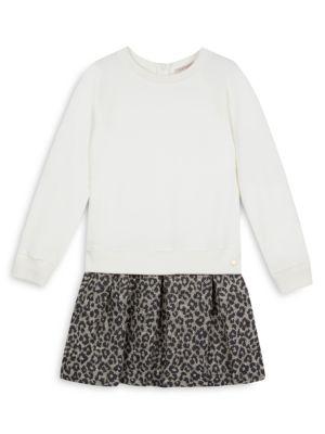 Little Girl's Bi Material Leopard Print Sweater Dress
