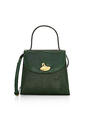 Little Lady Swirl Lizard Embossed Leather Top Handle Bag by Little Liffner