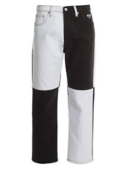 7d490bbcb81fe Boyfriend-Fit Two-Tone Ankle Jeans WHITE BLACK. QUICK VIEW. Product image
