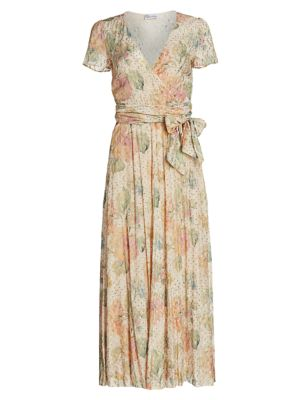 Red Valentino Dresses Floral Metallic Dotted Wrap Midi Dress