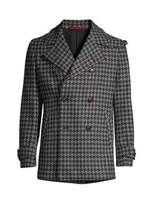 Isaia Coats Houndstooth Double-Breasted Wool & Cashmere Overcoat