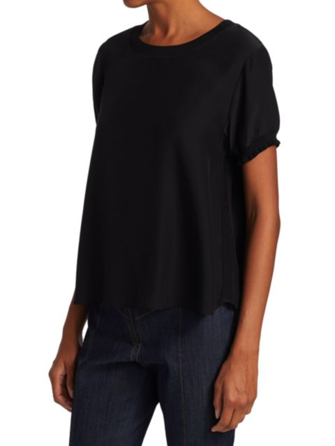 Cinq à Sept Lenny Silk Short-Sleeve Top | SaksFifthAvenue