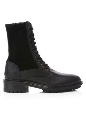 Aquatalia Boots Orianna Leather & Suede Combat Boots