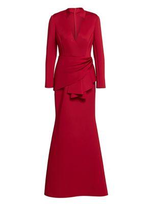 Badgley Mischka - Scuba Side-Wrap Gown - saks.com
