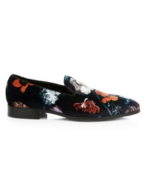 Paul Smith Tudor Floral Print Velvet Loafers