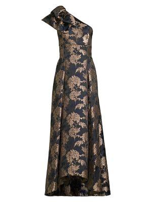 Aidan Mattox Jacquard Floral One Shoulder Gown
