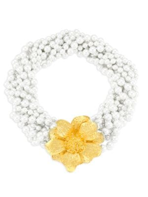Kenneth Jay Lane Faux-Pearl Twisted Multi-Strand Flower Necklace In Gold