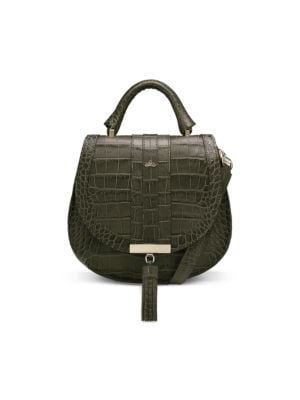 Demellier Women's Mini Venice Croc-embossed Leather Saddle Bag In Olive