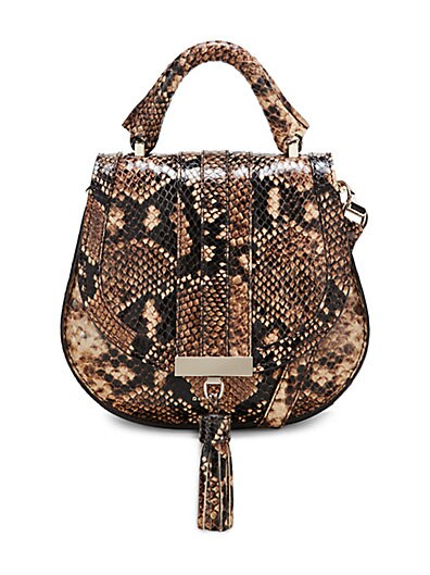 Demellier - Nano Venice Snakeskin-Embossed Leather Saddle Bag