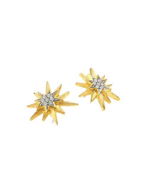 Two-Tone Star Stud Earrings