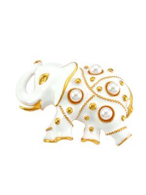 Kenneth Jay Lane Faux Pearl & Enamel Elephant Pin In White