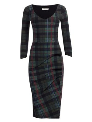 Chiara Boni La Petite Robe Rannah Plaid V Neck Dress