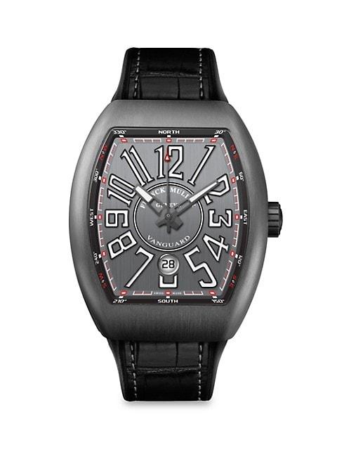 Vanguard Brushed Titanium, Alligator-Embossed Leather & Rubber Strap Watch