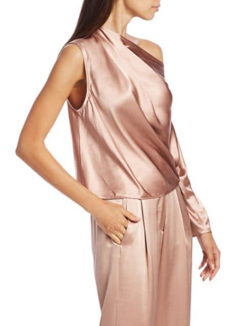Michelle Mason One-Sleeve Silk Drape Top | SaksFifthAvenue