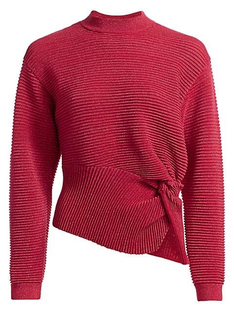 Ribbed Metallic Wool Twist Sweater