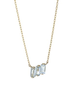 Kalan By Suzanne Kalan 14k Yellow Gold Blue Topaz Triple Baguette Pendant Necklace