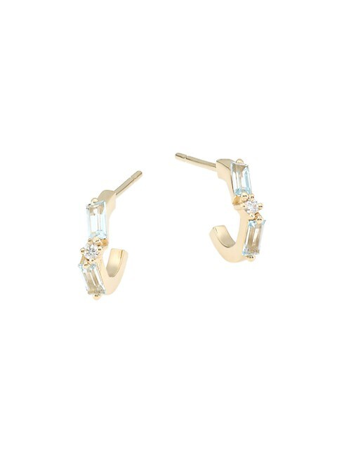Small 14K Yellow Gold, Diamond & Blue Topaz Baguette Hoop Earrings