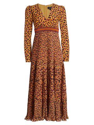 Saloni Dresses Talitha Printed & Embellished Silk Dress
