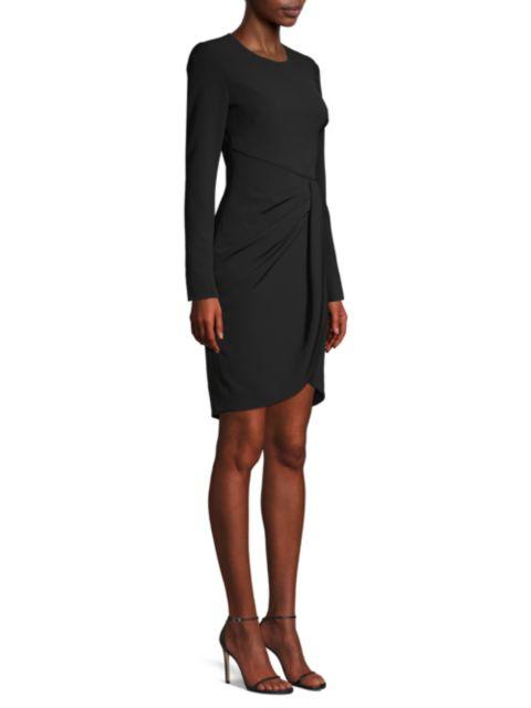 Black Halo Ivana Ruched Faux Wrap Sheath Dress   SaksFifthAvenue