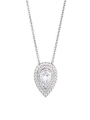 35a41cf396e6e Adriana Orsini - Rhodium-Plated Sterling Silver & Cubic Zirconia Teardrop  Pendant Necklace