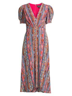 Saloni Lea Puff Sleeve Silk Dress