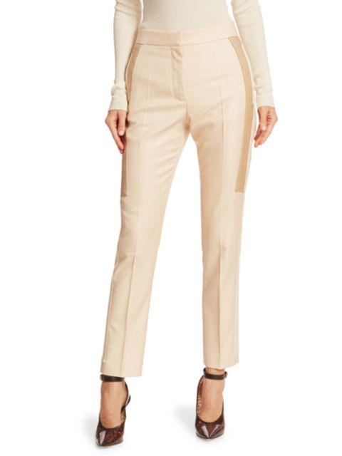 Burberry Wool & Silk Contrast Inset Pants | SaksFifthAvenue