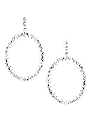 Tivoli Rhodium Plated Sterling Silver Cubic Zirconia Hoop Drop Earrings by Adriana Orsini