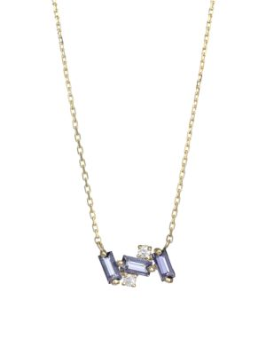 Kalan By Suzanne Kalan 14k Yellow Gold Iolite Diamond Mini Bar Pendant Necklace