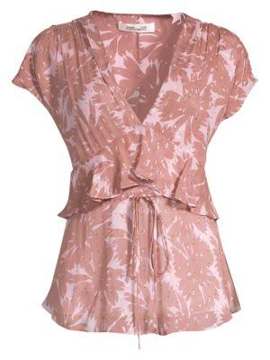 Diane Von Furstenberg 0 Millie Silk-Blend Daisy Print Peplum Top