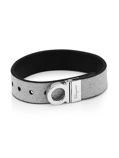 Glitter Logo Leather Bracelet